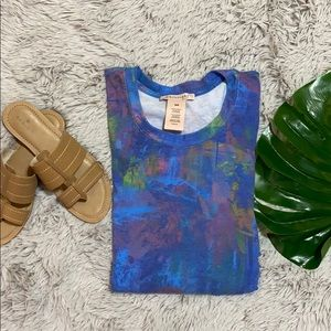 Philosophy blue and neon long sleeve tunic M